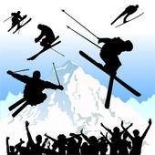 Ski silhouettes — Stock Vector