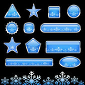 Button with snowflake set — Stock Vector