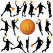 Stock Vector: Basketball player and ball vector