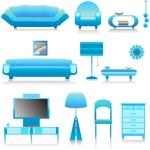 Modern furniture, interior design — Stock Vector