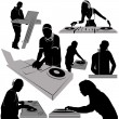 Dj and turntable — Stock Vector