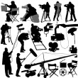 Cameraman and film set accessories — Stock Vector