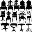 Antique chair and table set — Imagen vectorial