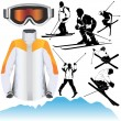 Stock Vector: Ski set