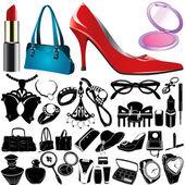 Set of women accessories — Stock Vector