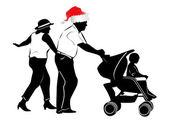 Weihnachten-Familie — Stockvektor