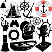 Sailing objects vector — Stock Vector