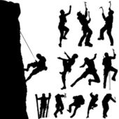 Mountain climber set — Stock Vector