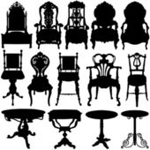 Antique chair and table set — Stock Vector