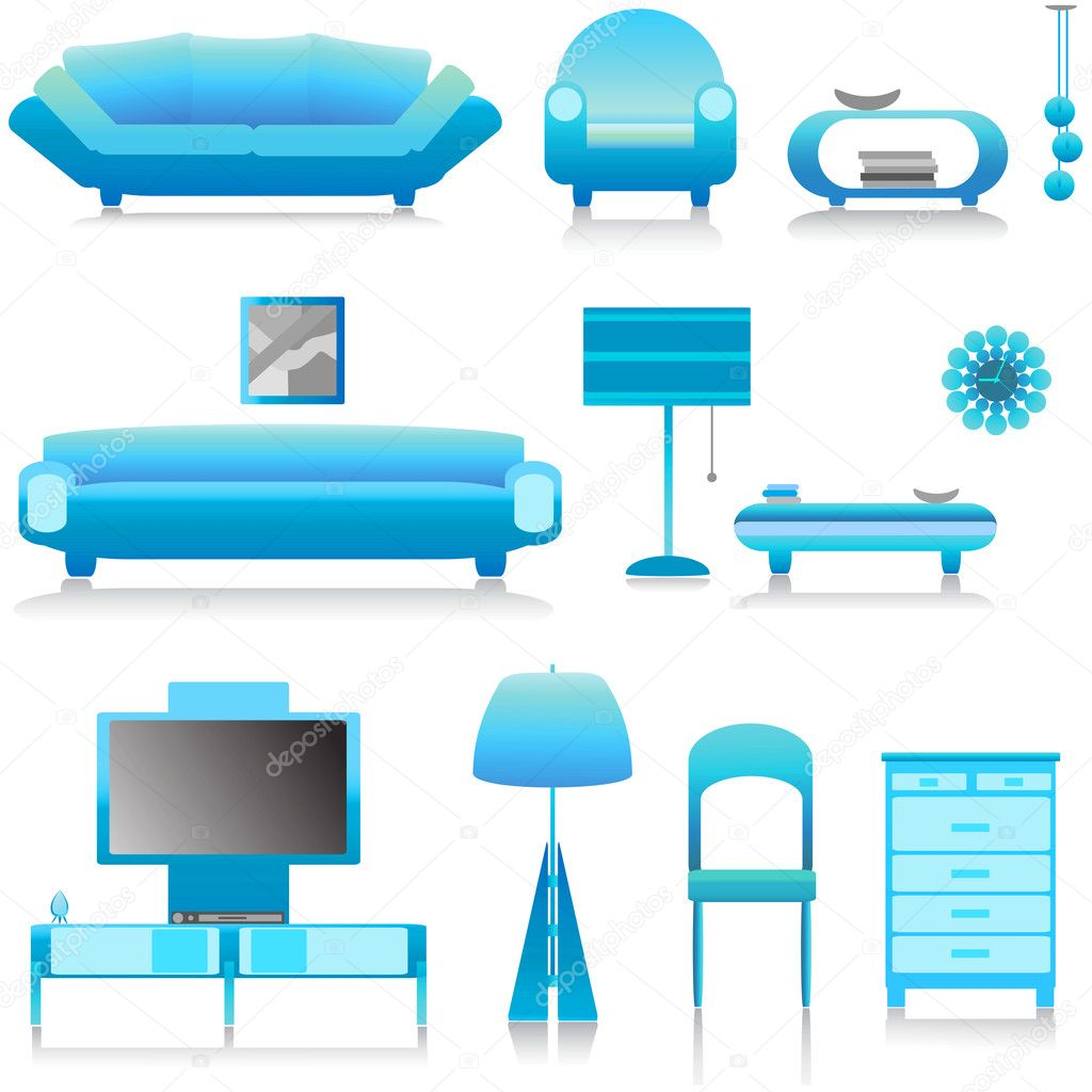 Modern furniture, interior design vector  Stock Vector #8640414