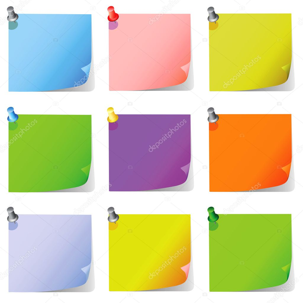 Post it, note paper set vector — Stock Vector #8641024