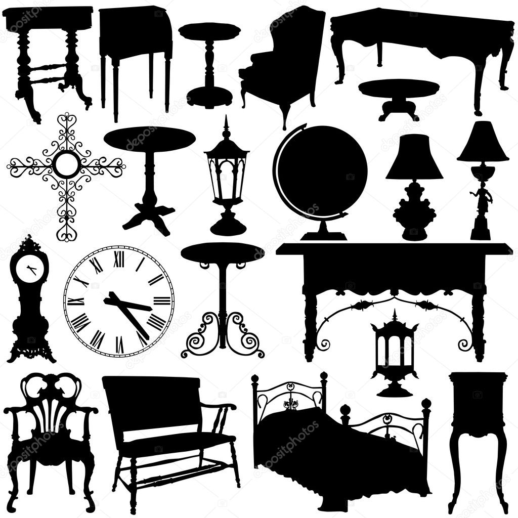 Antique chair silhouette - Antique Furniture Set Vector Vector By Bogalo