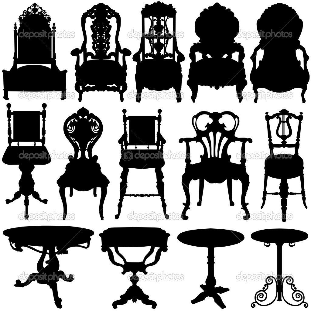 Antique chair silhouette - Antique Chair And Table Set Vector Vector By Bogalo