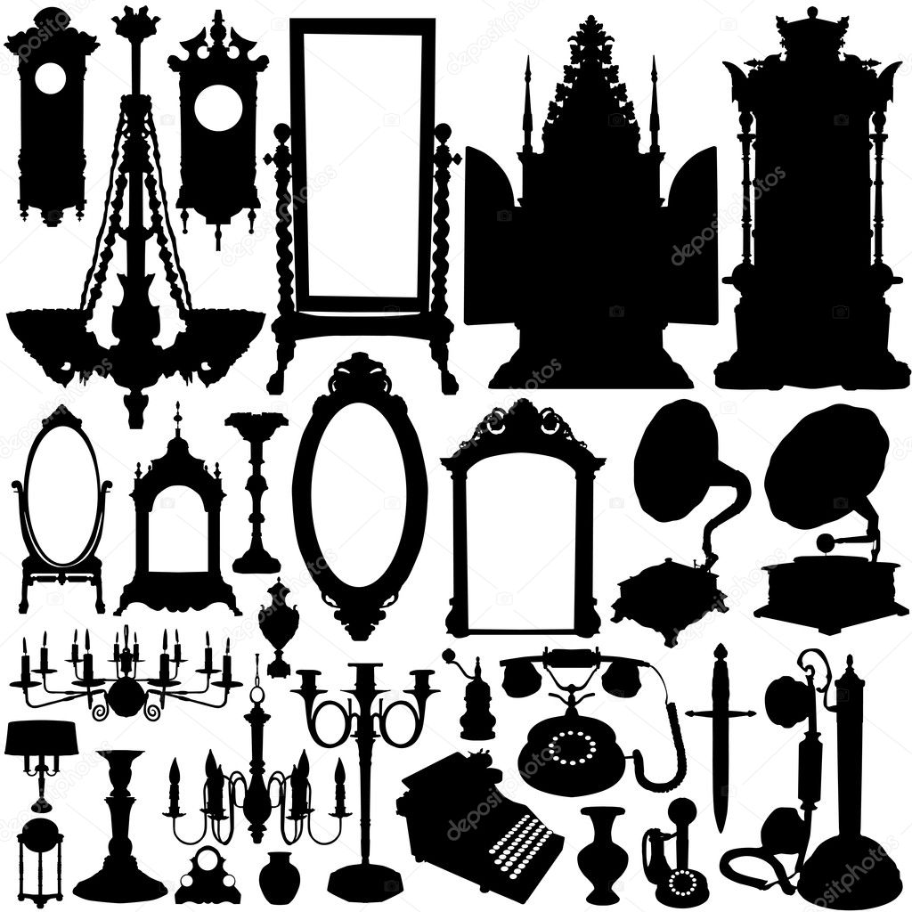 Antique furniture and objects vector — Stock Vector #8642921