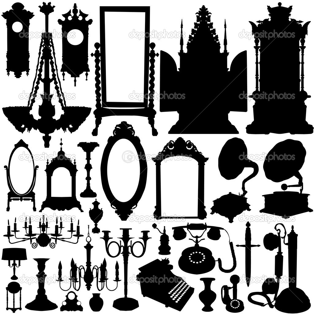 Antique chair silhouette - Antique Furniture And Objects Vector Vector By Bogalo