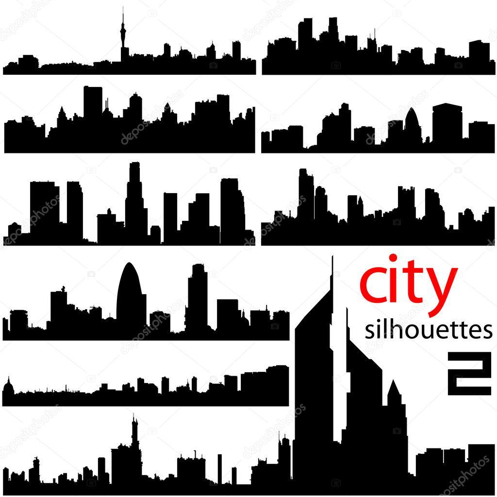 城市背景设置矢量 — 矢量图片作者 bogalo