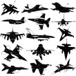 Stock Vector: Military plane set