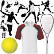 Stock Vector: Collection of tennis set