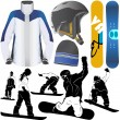 Collection of snowboard set — Stock Vector #8804454
