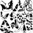 Women shoes detail set — Stock Vector