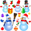 Snowman christmas set - Stock Vector