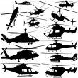 Collection of helicopter set — Stock Vector