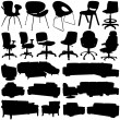 Stock Vector: Modern office chair and armchair