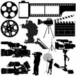 Film, camera and equipments — Stockvectorbeeld