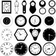 Stock Vector: Collection of wall clock set