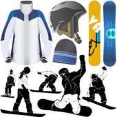 Collection of snowboard set — Stock Vector