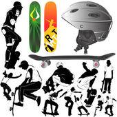 Skateboard set — Stock Vector