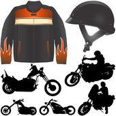 Chopper motorcycle set — Stock Vector