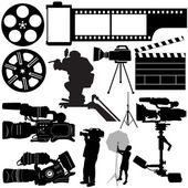 Film, camera and equipments — Stock Vector