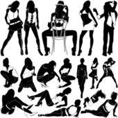 Fashion sexy women set — Stock Vector