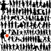 100 人の子供のセット — ストックベクタ