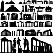 Historical building and city set — Stock Vector