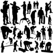 Construction workers set — Stock Vector