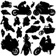 Collection of motorcycle and rider vector — Stock Vector