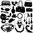Collection of women accessories vector — Stock Vector