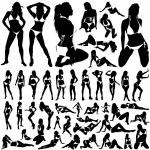 Collection of women in bikini vector — Stock Vector