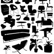 Business-office interior design objects — Stock Vector