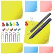 Post it, note paper, pencil, pen, office pack set — Stock Vector #8939982