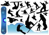 коллекция сноуборд вектора — Cтоковый вектор