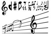 Vetor de nota e sinal de música — Vetor de Stock