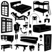 Home decoration and furniture vector — Vector de stock