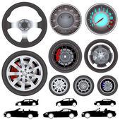 Bil, hjul, ratt vektor — Stockvektor