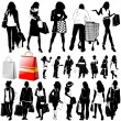 Shopping women set — Stock Vector