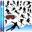 Collection of ski vector and equipments — Stock Vector