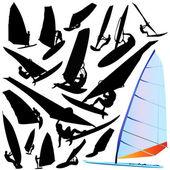 Wind surfing vector — Stock Vector
