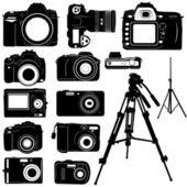 Dijital photo camera and tripod vector — Stock Vector